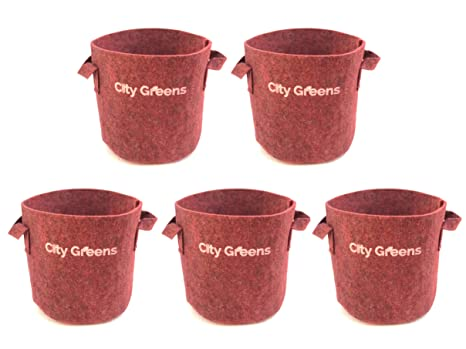 CityGreens® Fabric Grow Bags for Plants | 500 GSM | Red, Round 10x10 (Pack  of 5) | Elegant Look | for Indoor, Terrace and Balcony Gardening……