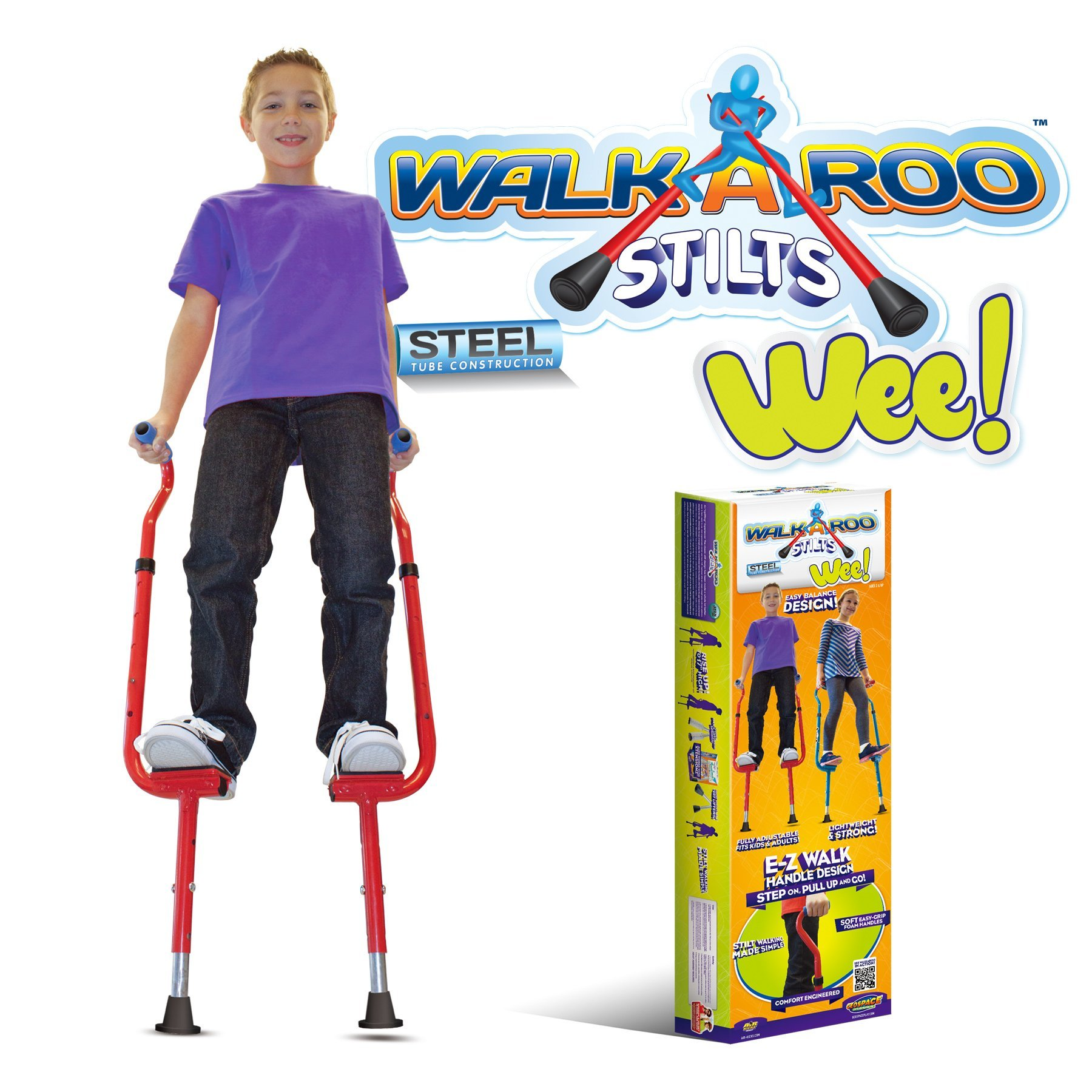 Geospace Original Walkaroo 'Wee' Balance Stilts with Adjustable Height for Little Kids & Beginners (Ages 4+) Active Play, in Assorted Colors (Red or Blue) by Geospace
