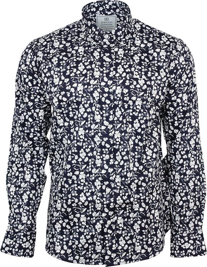 Relco Men/'s White Floral Short Sleeve Shirt Abstract Hippy Button Down Collar