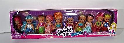 Funville Sparkle Girlz Little Friends Collection 10 Doll Set New