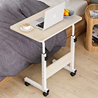 Adjustable Laptop Table Computer Table Desk for Bedroom Living Room Office Over Sofa Table (beige, Without bookshelf…