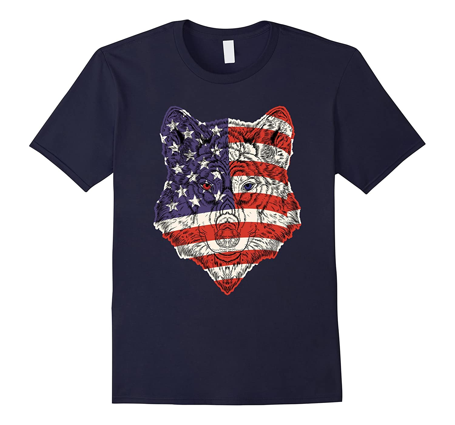 American Flag Wolf Shirts 4th of July Apparel Gift Patriotic-TH