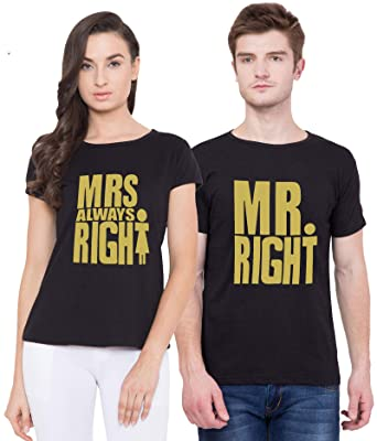 9568a2585a Cliths Same Couple Tshirt| Mr. and Mrs. Printed Round Neck Couple T ...