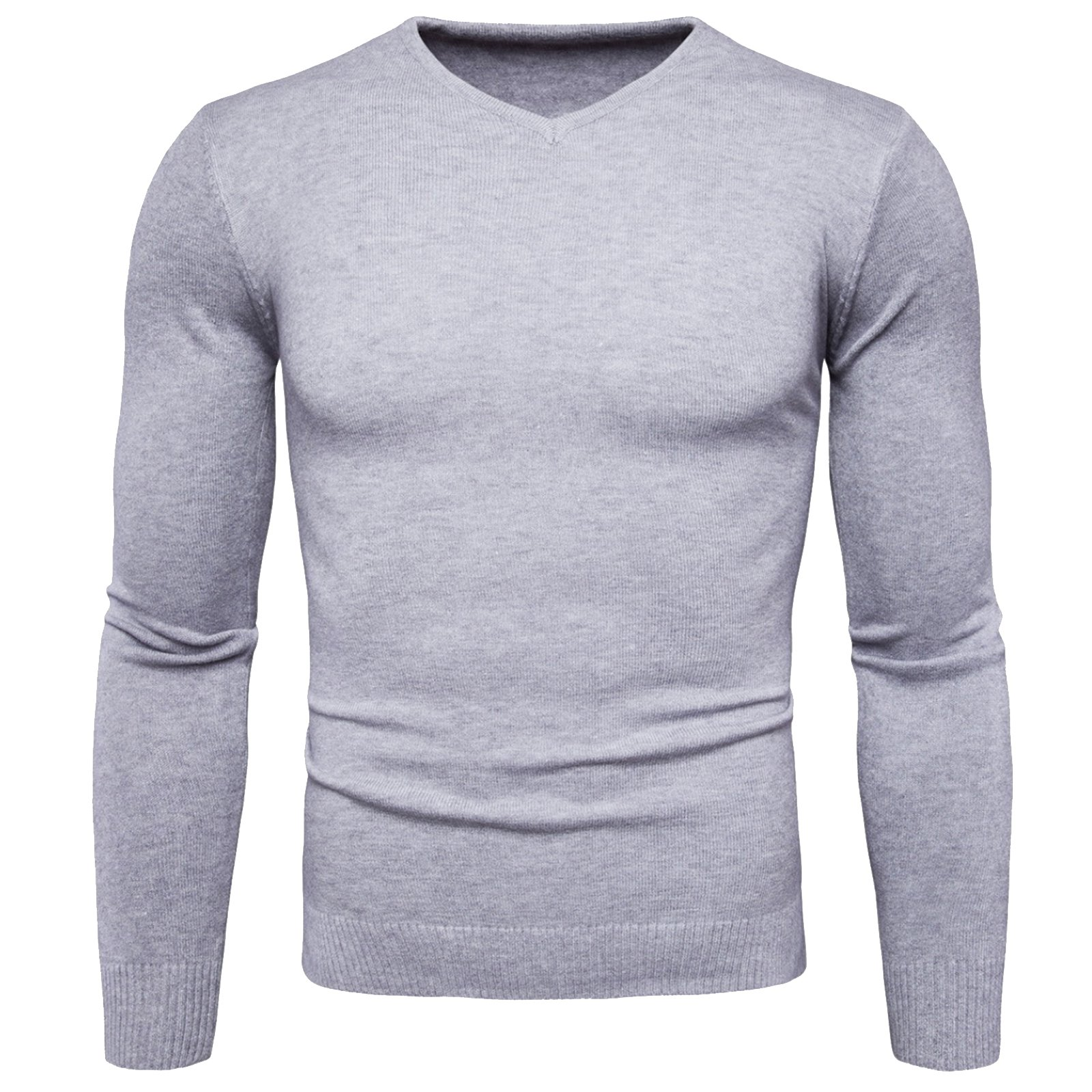 WSLCN Mens Chic Sweater Fine Knit V-Neck Coton Classic Jumper Pullover Solid Grey US XS (Asian M)