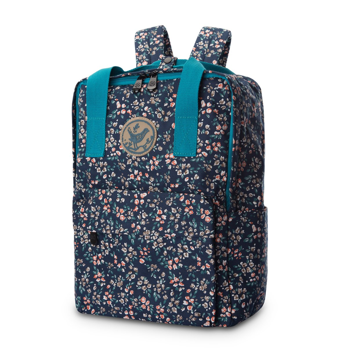 dc830b2e7860 JAMMYLIZARD Cute Canvas Backpack Handbag Lightweight Floral Print for Girls  and Women Laptop School Travel, Blue and Pink Vintage Ditsy
