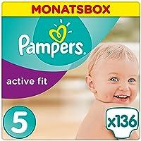 Pampers Active Fit Windeln,Gr.5, Junior 11-23kg, Monatsbox, 1er Pack (1 x 136 Stück)