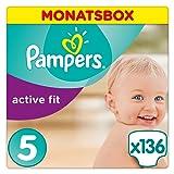 Pampers Premium Protection Active Fit Windeln, Gr. 5 Junior (11-23 kg), Monatsbox, 1er Pack (1 x 136 Stück)