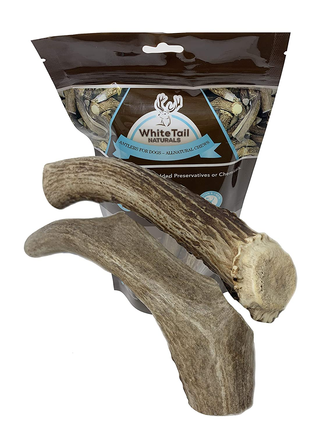 WhiteTail Naturals 2 Pack Large Deer Antlers for Dogs, All Natural Dog Chews Grade A Antler Chew Bones Made in The USA