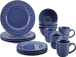 Paula Deen Dinnerware Savannah Trellis 16-Piece Stoneware Dinnerware Set, Cornflower Blue