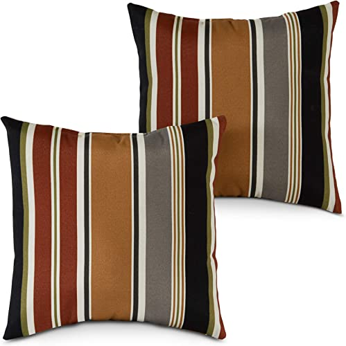 South Pine Porch AM4803S2-BRICK Brick Stripe Outdoor 17-inch Square Accent Pillow