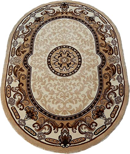 Persian Medallion Oval Woven 5×8 Area Rug Ivory Actual Size 5 3 x 7 2