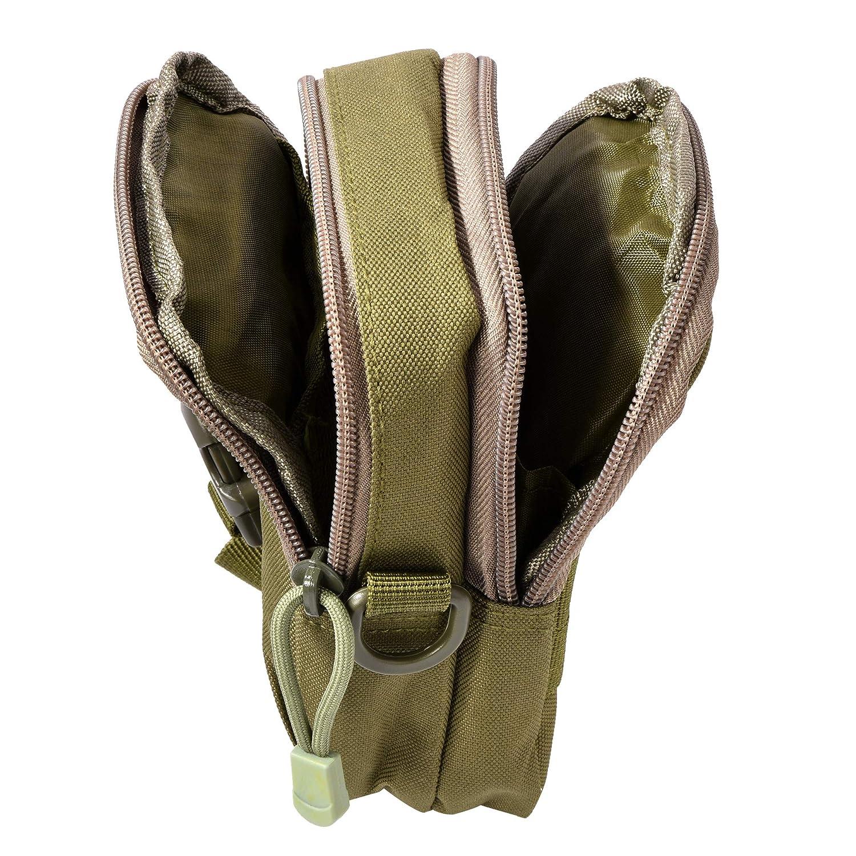 Negro HoYiXi Bolsa de Cintura Multifuncional Ri/ñonera T/áctica Bolso de Cintur/ón con Bolsillo de Tel/éfono para Ciclismo Escalada Pesca Al Aire Libre Deporte Peque/ñas Molle Militar Pouch