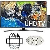 "Samsung UN55MU7000 54.6"" 4K Ultra HD Smart LED TV (2017 Model) w/ Wall Mount Bundle Includes, Slim Flat Wall Mount Ultimate Bundle Kit & Transformer Tap USB w/ 6-Outlet Wall Adapter and 2 Ports"