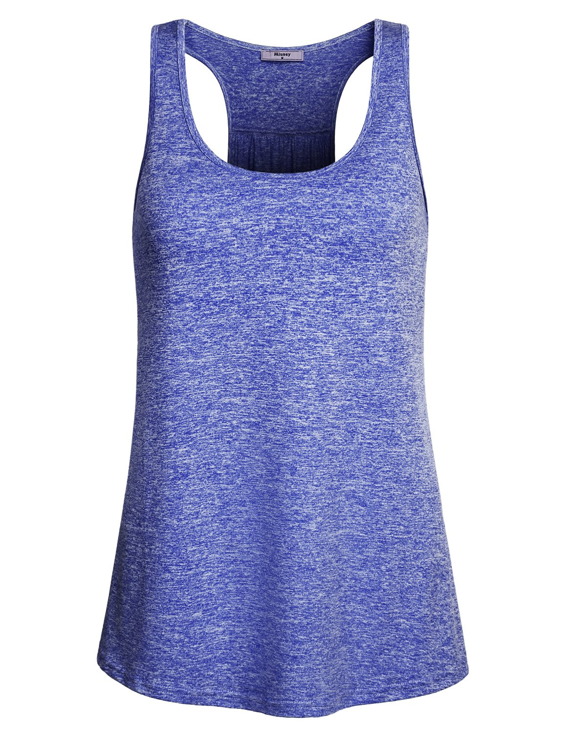 Miusey Tank Tops for Women, Juniors Sleeveless Scoop Neck Activewear Yoga Running Workout Blank Athletic Gym Sports Stretchy Fitness Cozy Vibrant Shirt Blue M