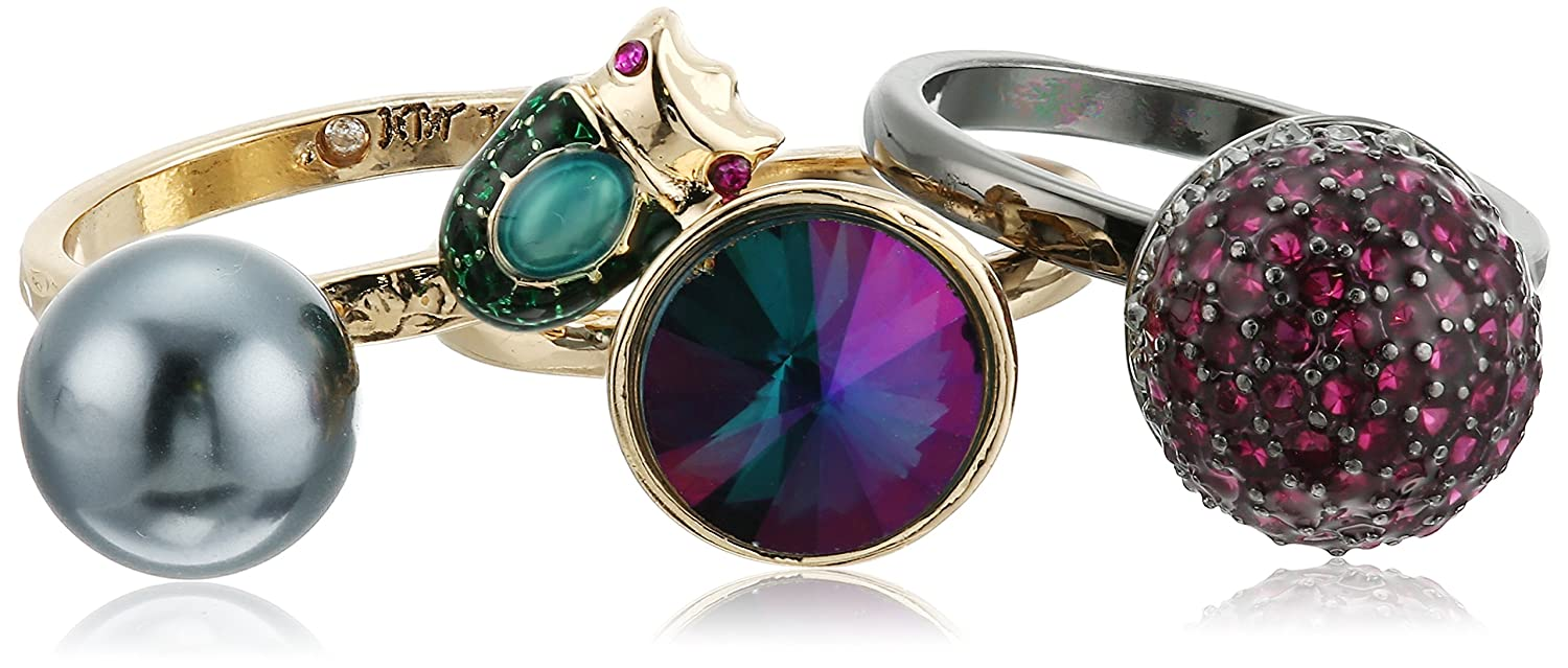 Betsey Johnson You Give Me Butterflies Mixed Stone Stackable Ring, Size 7.5 Betsey Johnson Jewelry B11437-R01