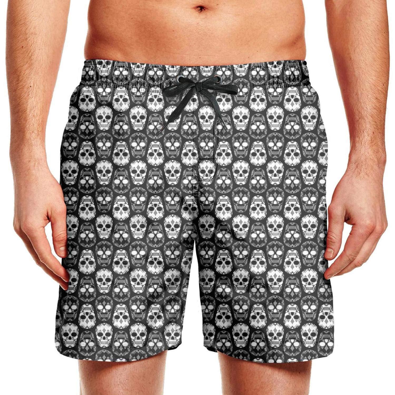 CCBING Black and White Skull Pattern Printed Mens Classic Beach Swim Trunk Waterproof Surfing Swimwear