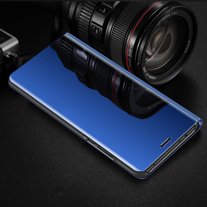 Galaxy J7 Pro Case,Galaxy J7 Pro Mirror Case,ikasus Ultra-Slim Luxury Plating Mirror Makeup Case Cover PU Leather Flip Stand Kickstand Protective Case Cover for Galaxy J730 J7 Pro (2017),Blue by ikasus (Image #2)