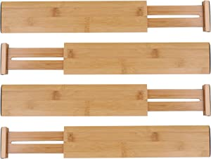 Lawei 4 Pack Bamboo Drawer Dividers - Adjustable Expandable Drawer Organizers Spring Loaded Drawer Separators for Kitchen Office Room Drawer