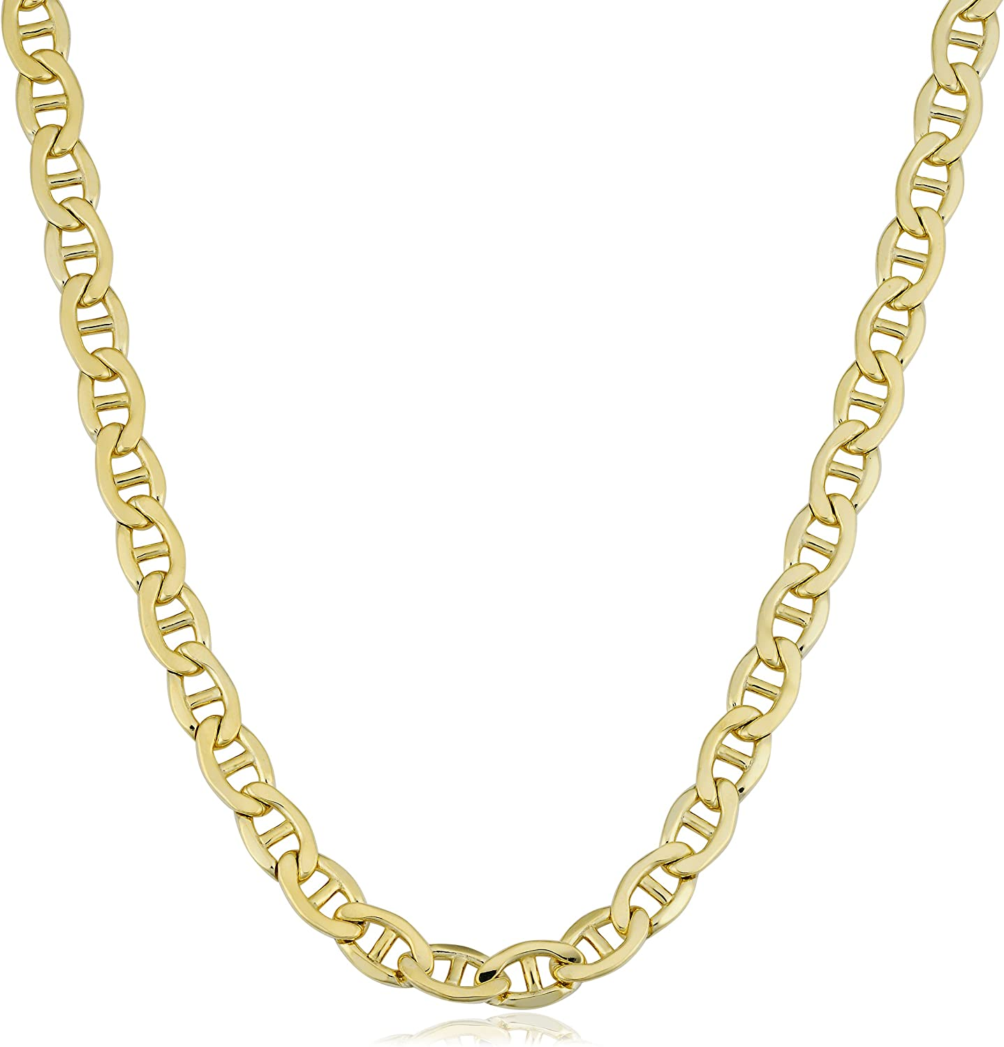 Kooljewelry Mens 14k Yellow Gold Filled Heavyweight 5.8 mm Mariner Link Chain Necklace