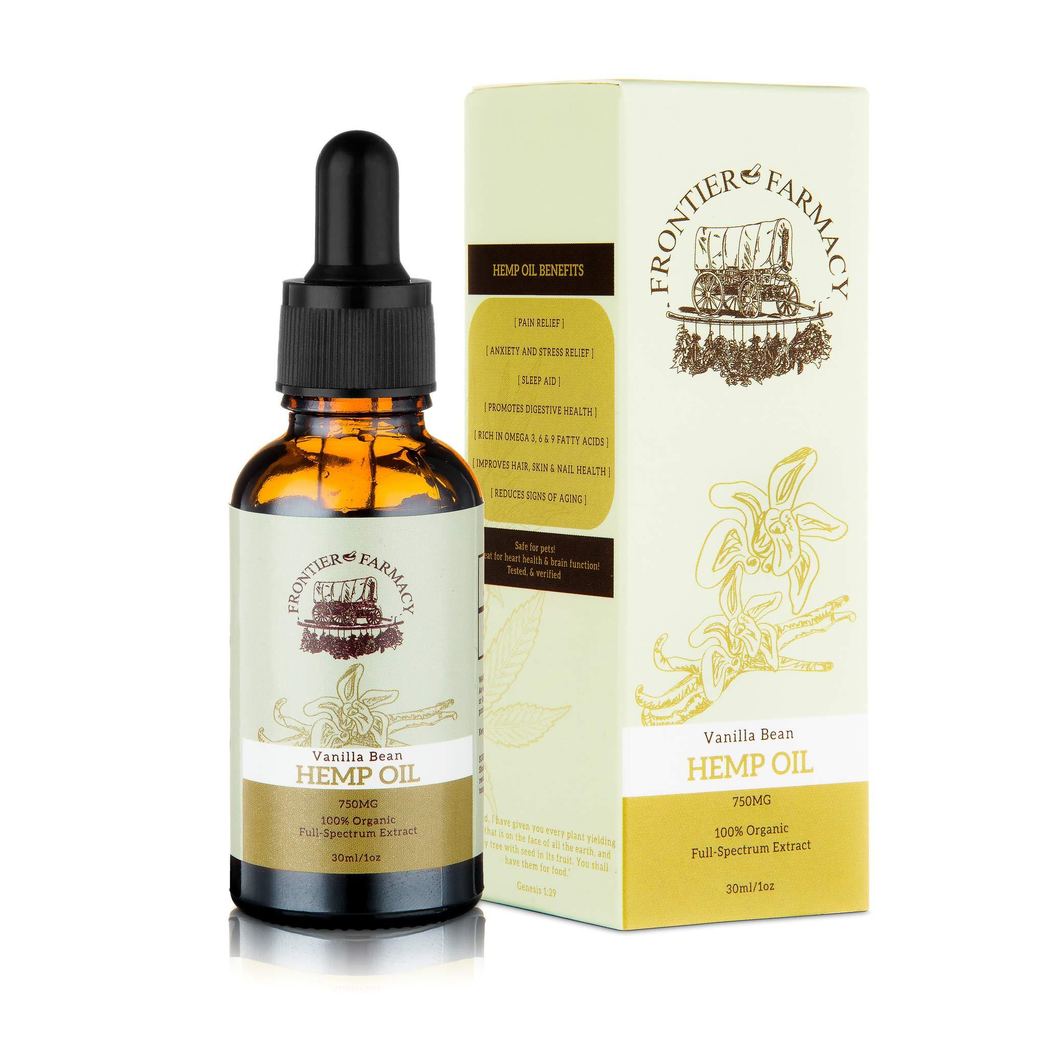 Frontier Farmacy Organic Hemp Oil - 750mg Pure Extract Vanilla Bean