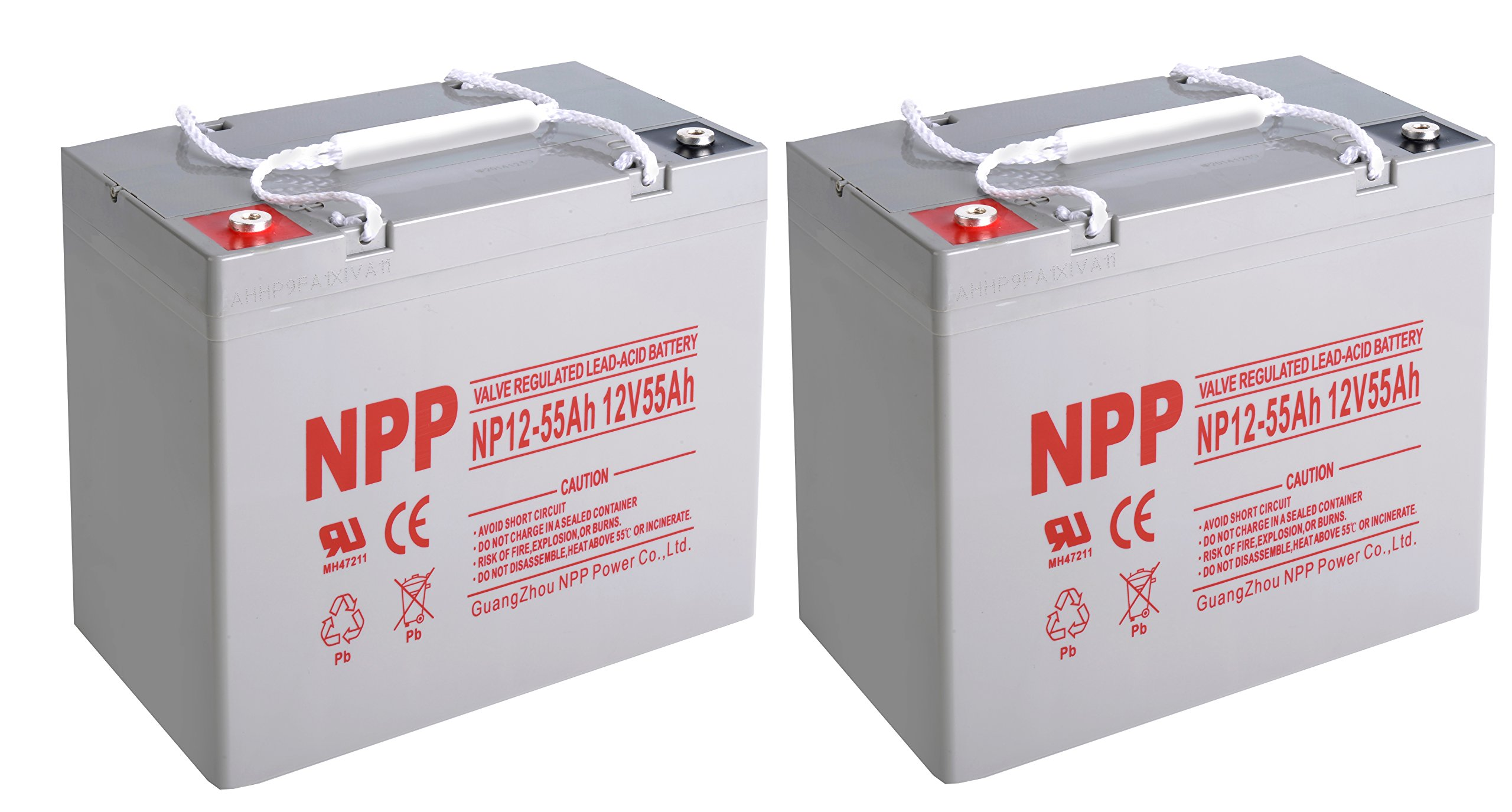 NPP 12V 55 Amp NP12 55Ah Rechargeable Lead Acid Battery With Button Style Terminals / Pack 2