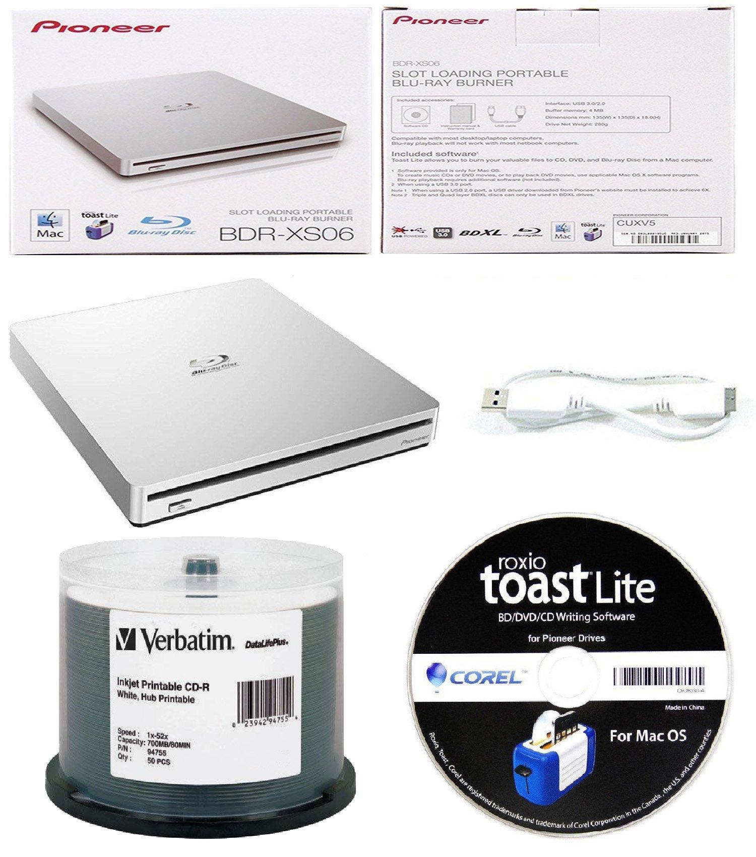 Pioneer 6x BDR-XS06 Slim Slot Portable External Blu-ray BDXL Burner, Roxio Toast Lite Software and USB Cable Bundle with 50pk CD-R Verbatim 700MB 52X DataLifePlus White Inkjet, Hub Printable