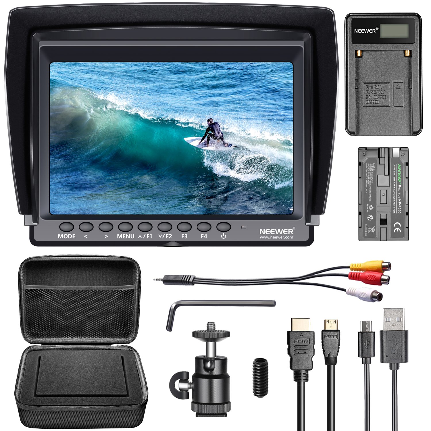 Neewer F100 7-inch 1280x800 IPS Screen Camera Field Monitor Kit with 2600mAh NP-F550 Replacement Li-ion Battery; Micro USB Battery Charger and Black Carrying Case for Nikon Canon Sony DSLR Cameras