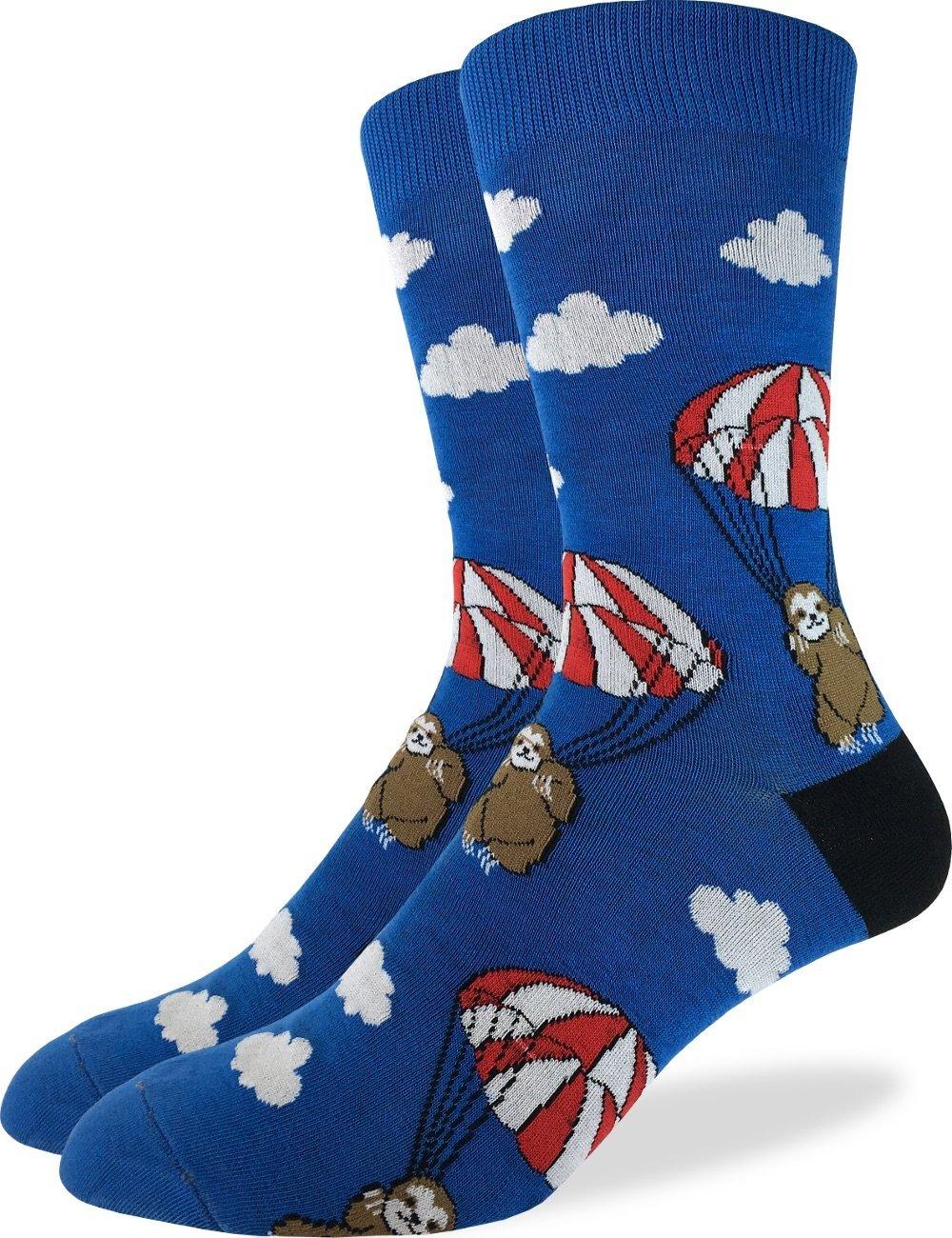 Good Luck Sock Men'S Parachuting Sloths Crew Socks - Blue, Shoe Size 7-12 - Blue
