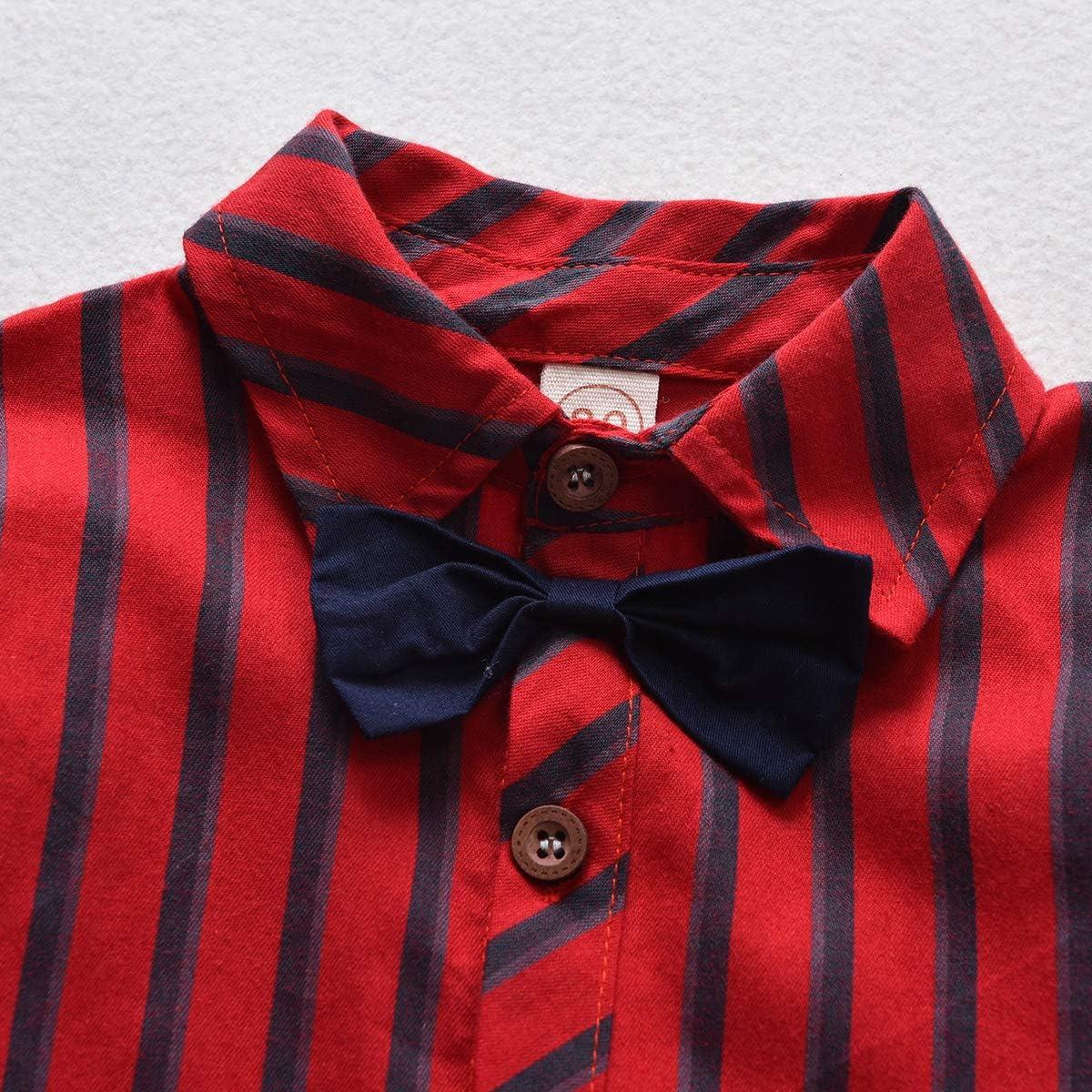 DaMohony Camisa de Rayas para niños + Pantalones de Tirantes Trajes de Caballero Pajarita para niños Ropa Traje 0-6 años Rojo Negro: Amazon.es: Ropa y accesorios