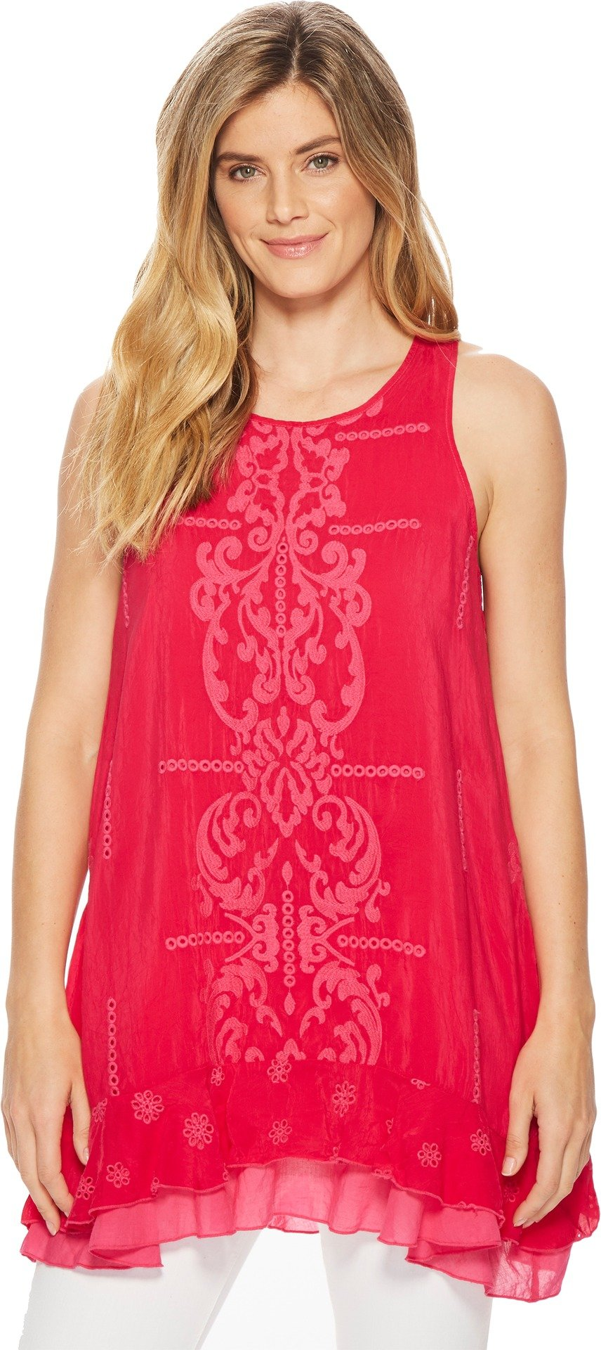 Johnny Was Women's Demoran Tank Top Pomegranate X-Large