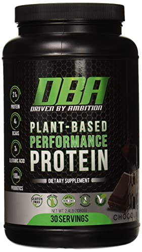 DBA Performance Plant Based Protein BCAA, Probiotics, Vegan, Non-GMO, 2.4 Lb, 30 Servings Chocolate