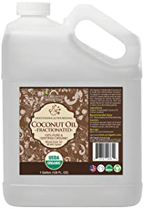 US Organic Fractionated Coconut MCT Oil Bulk Pack, USDA Certified Organic, Non-GMO, Perfect for massage, carrier oil for DIY blends, Hair, Skin care. 100% Pure, Hexane-Free (128 oz (1 Gallon))