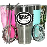 Stainless Steel Travel Tumbler Cup by EPIC - 30 oz Double Wall Vacuum Insulated Drinking Thermal Mug - Compare to Yeti or Rtic - 2 Lids and 2 Stainless Steel Straws with Brush, 30 oz-Silver