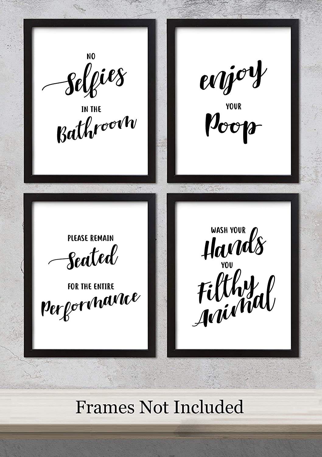 Quotes For Selfies | Bathroom Quotes Sayings No Selfies Art Prints Set Of Four Unframed Photos 8x10 Great Bathroom Decor Gift Idea