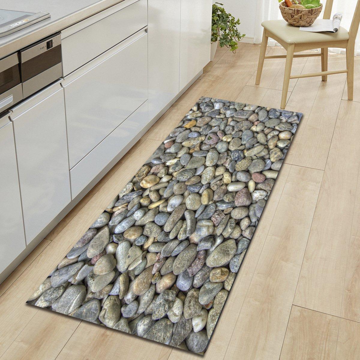 HYRL Carpets Alfombras De Pasillo Extra Largas para Baño Alfombra De Baño Antideslizante De Piedra para Baño Alfombra De Piso Absorbente De Cocina Lavable A Máquina,#1,60 * 90Cm