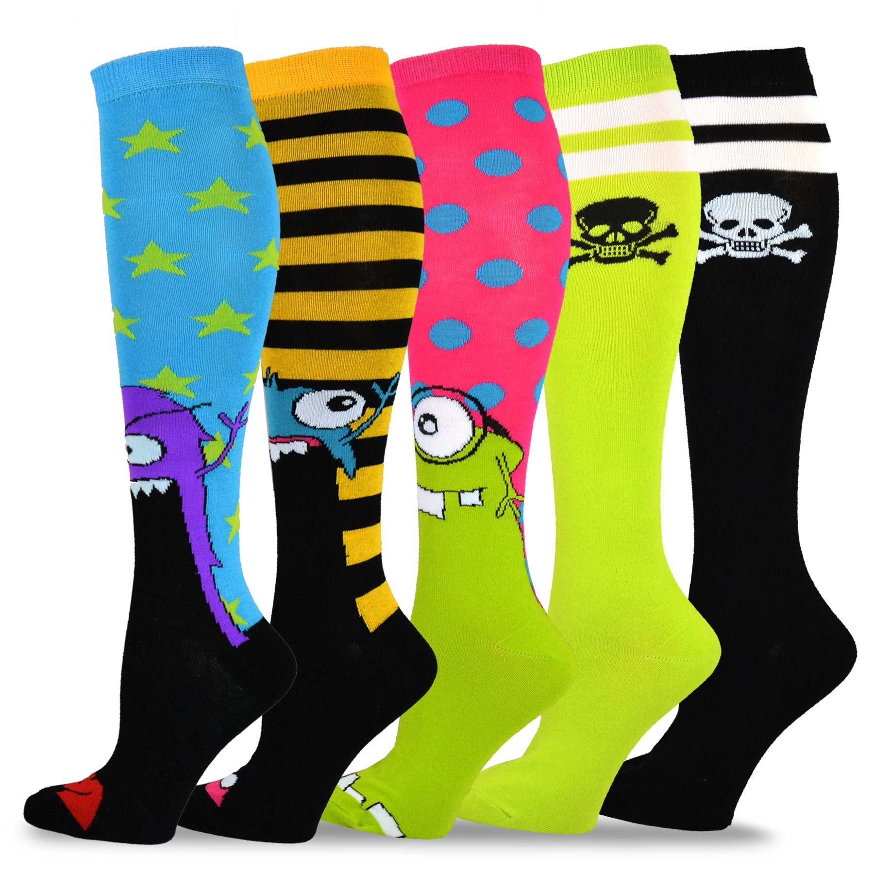 TeeHee Novelty Cotton Knee High Fun Socks 5-Pack for Women (Skull Varsity Pirate Monster)