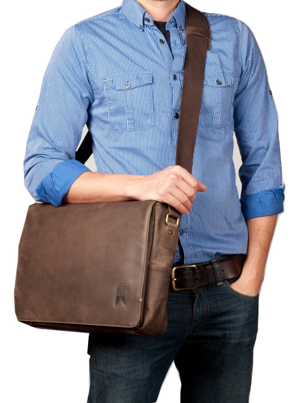 Navali Leather Mainstay Computer Messenger Bag, Brown by Navali (Image #5)