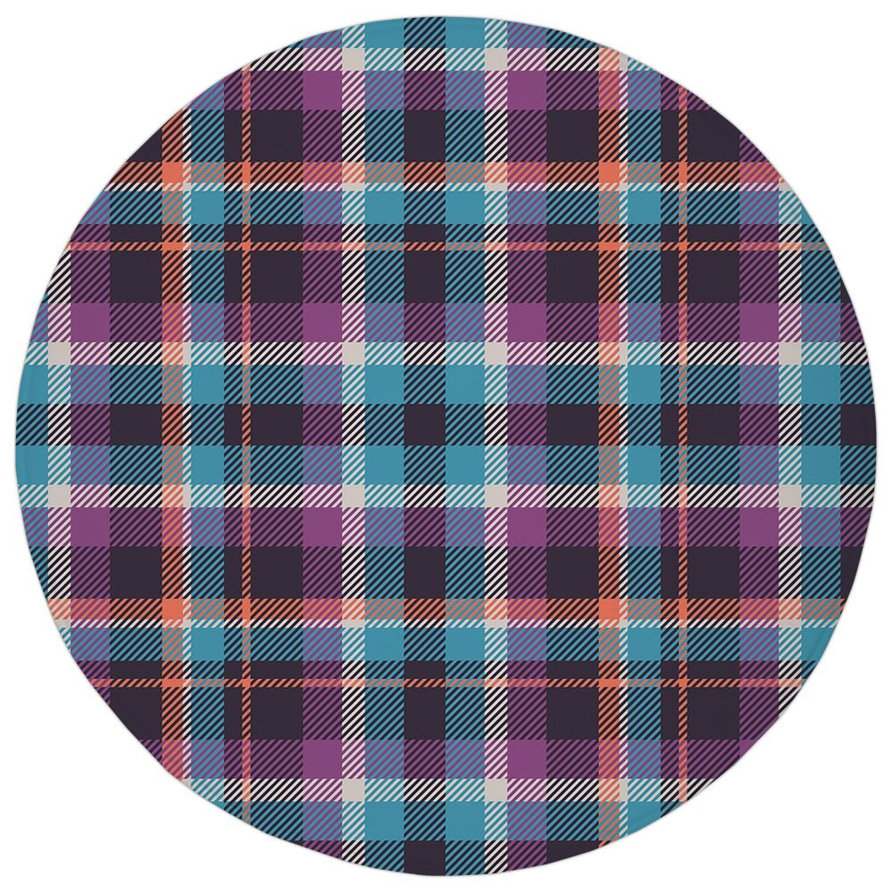 Round Rug Mat Carpet,Checkered,Celtic Tartan Irish Culture Scotland Country Antique Tradition Tile Decorative,Violet Light Blue Salmon,Flannel Microfiber Non-slip Soft Absorbent,for Kitchen Floor Bath
