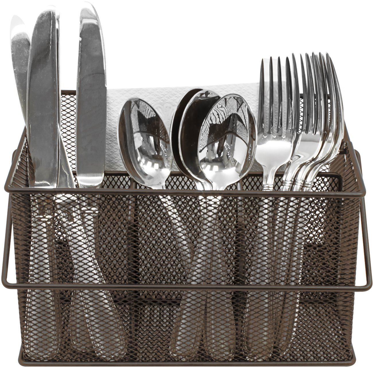 Sorbus Utensil Caddy — Silverware, Napkin Holder, and Condiment Organizer — Multi-Purpose Steel Mesh Caddy—Ideal for Kitchen, Dining, Entertaining, Tailgating, Picnics, and Much More (Black) UTN-CADY-BLK