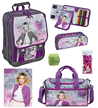 Disney Violetta grande Mochila Escolar (9 piezas). Bolsa de deporte, estuche, Turn Bolsa viae8300: Amazon.es: Equipaje
