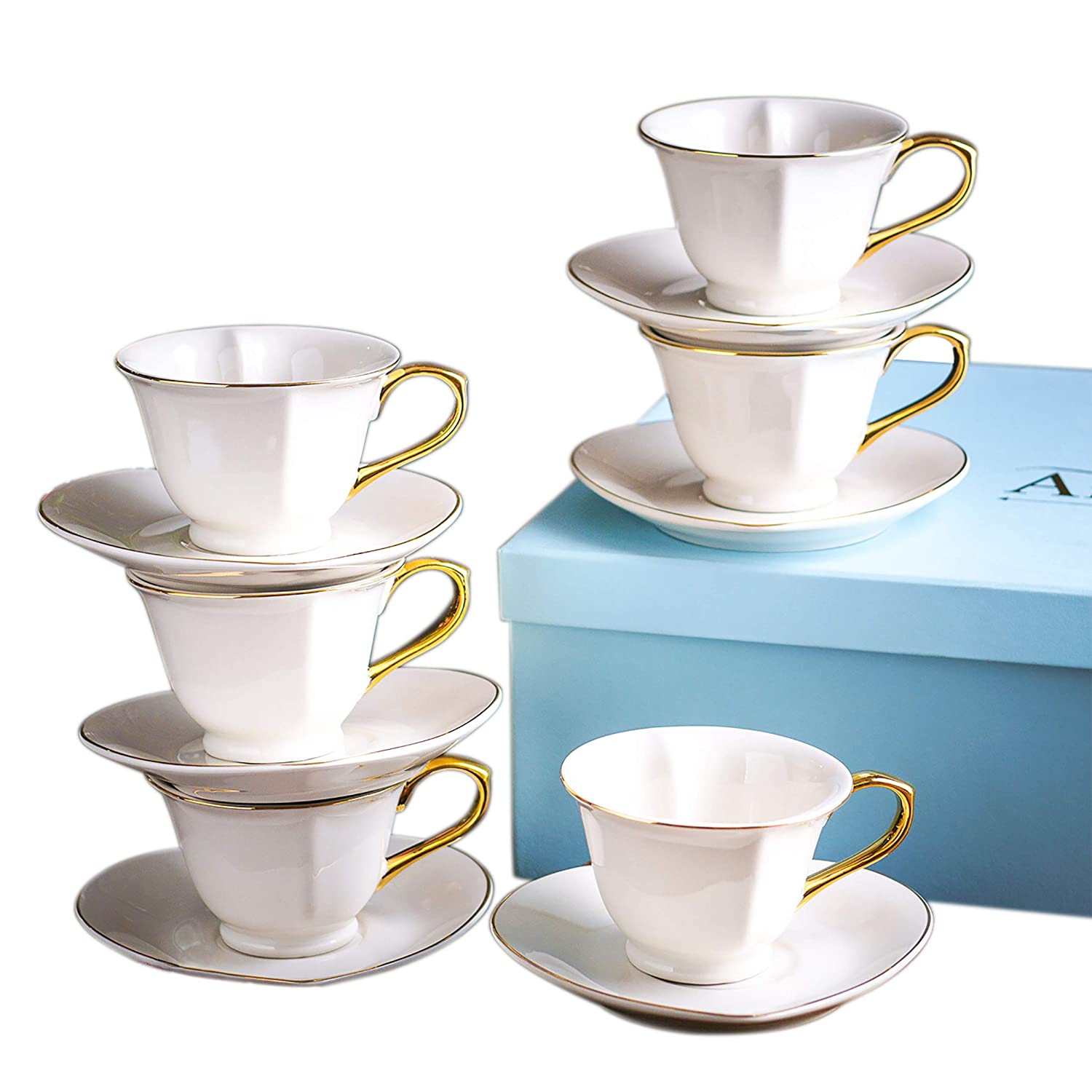 ARTVIGOR Porcelain Coffee Service in Gift Box Set of 12 Coffee Cups with Saucers White Tea Service with Gift Box for 6