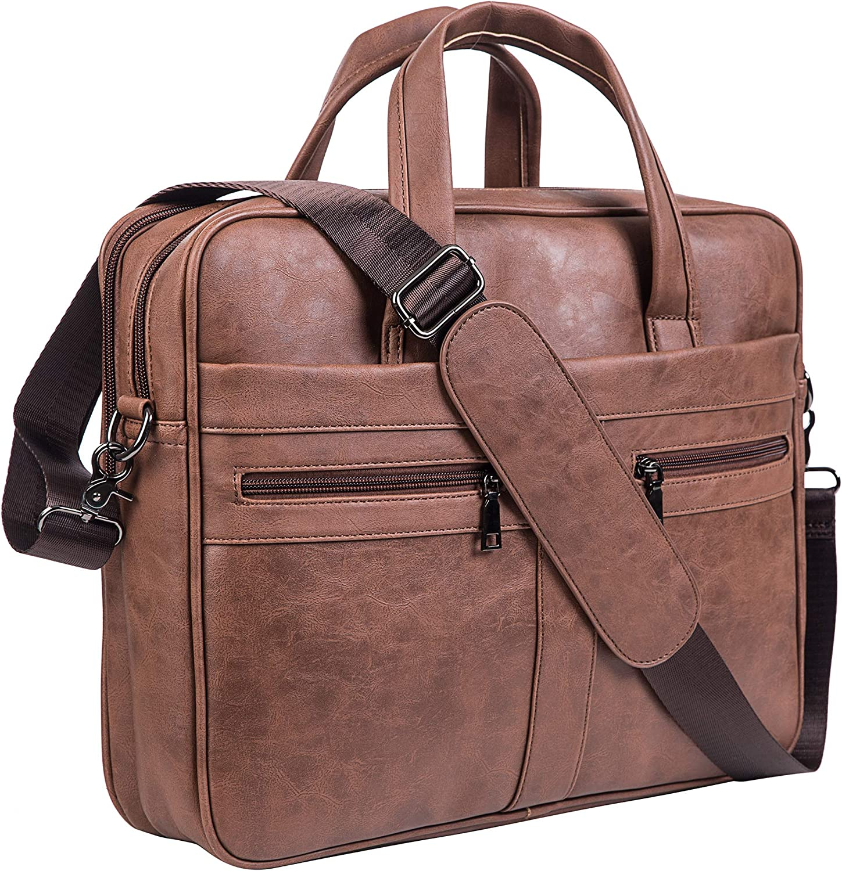 Men's Leather Messenger Bag, 15.6 Inches Laptop Briefcase Business Satchel Computer Handbag Shoulder Bag(Brown)