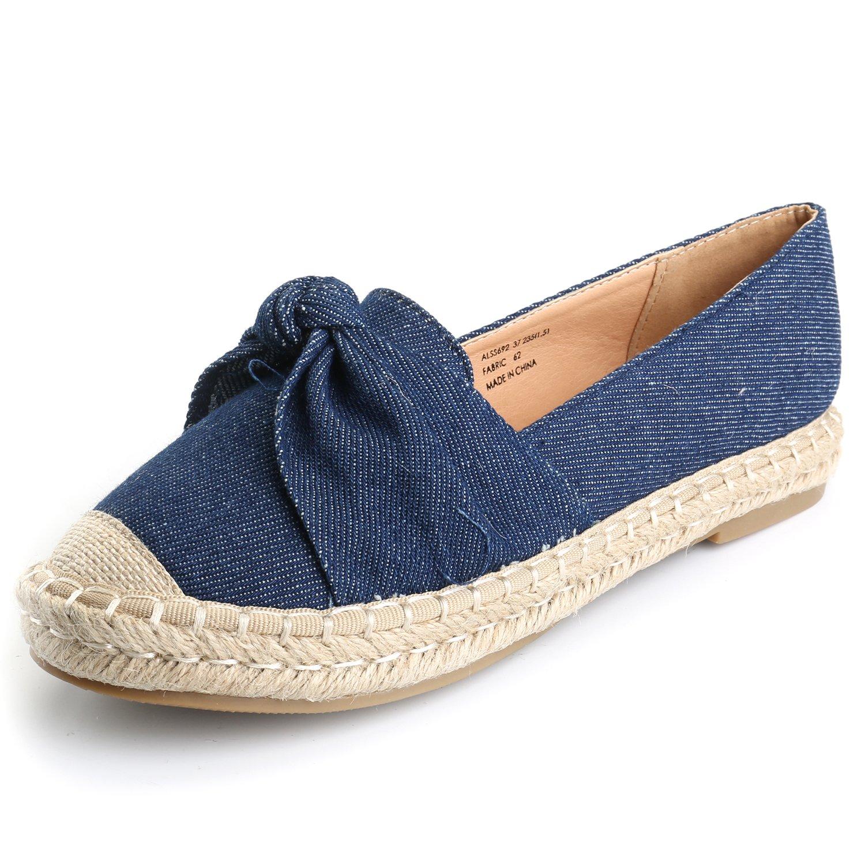 Alexis Leroy Women's Closed Toe Slip-On Bow Espadrille Loafer Flats Dark Blue40 M EU/9-9.5 B(M) US