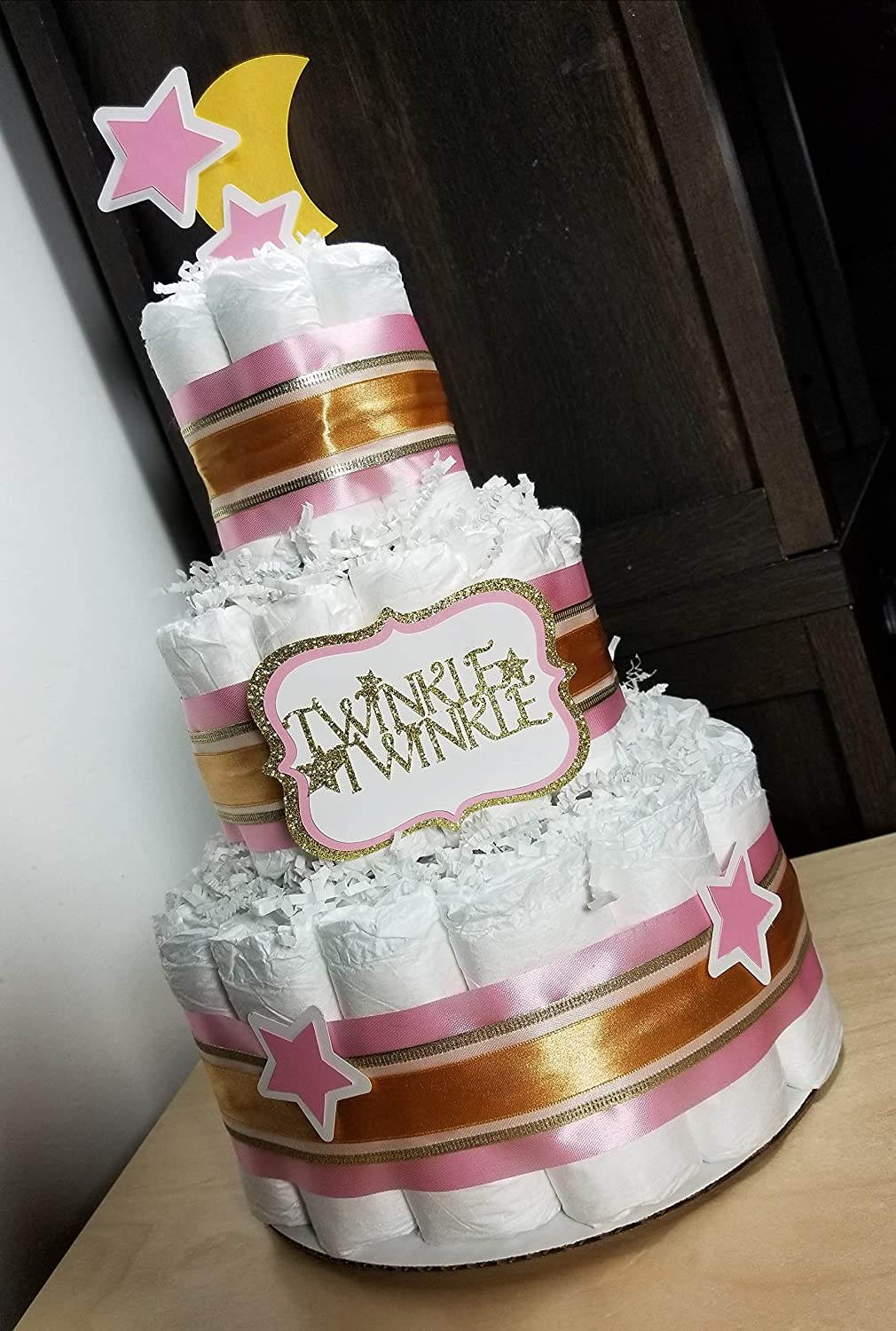 Twinkle Twinkle Pink and Gold with Moon and Stars Blue, Pink, and Yellow Options 3 Tier Diaper Cake