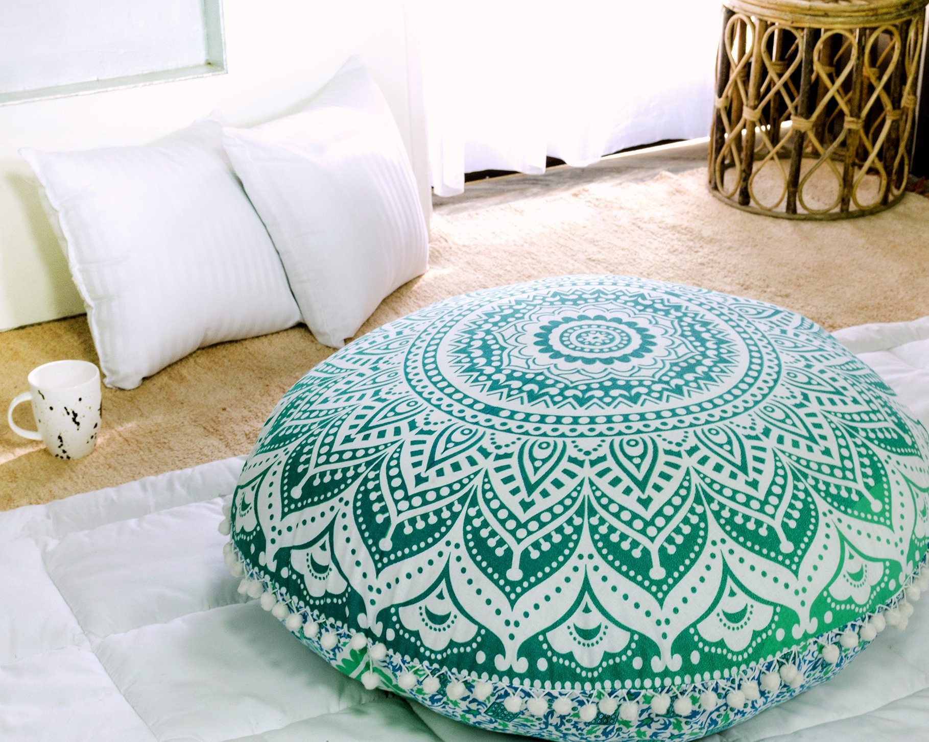Popular Handicrafts Large Ombre Mandala Round Hippie Floor Pillow - Cushion - Pouf Cover Bohemian Yoga Decor Floor Cushion Case - 32'' Green by Popular Handicrafts (Image #3)