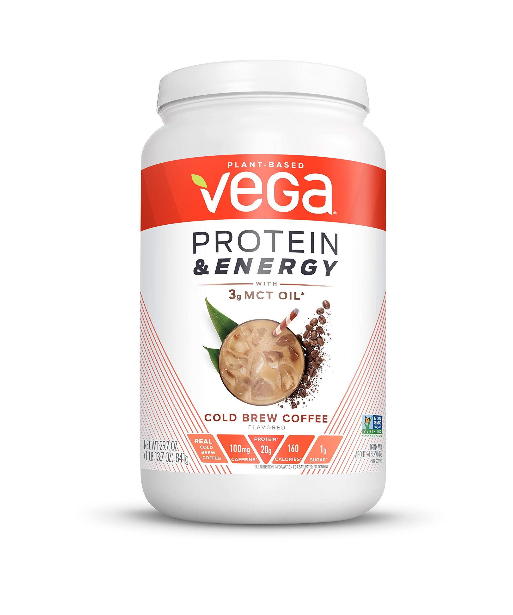 Vega Protein & Energy Cold Brew Coffee (24 servings, 29.7 Ounce (1 Count)) - Plant Based Vegan Non Dairy Protein Powder, Gluten Free, Keto, MCT oil, Non GMO by VEGA