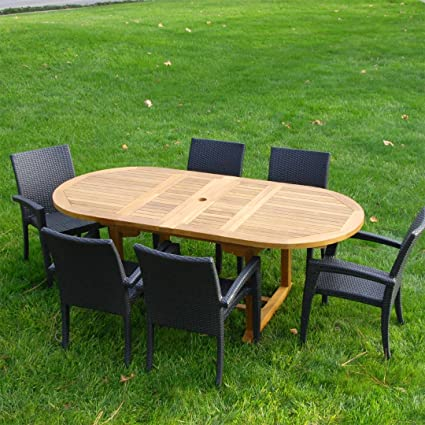 "New 7Pc Grade-A Teak Outdoor Dining Set-83""X40"" Oval Double - Amazon.com : New 7Pc Grade-A Teak Outdoor Dining Set-83"