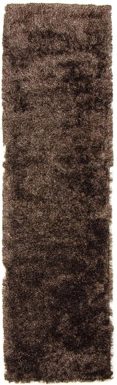 CarpetFine  Hochflor Breeze Läufer Teppich 80x300 cm Braun - Einfarbig