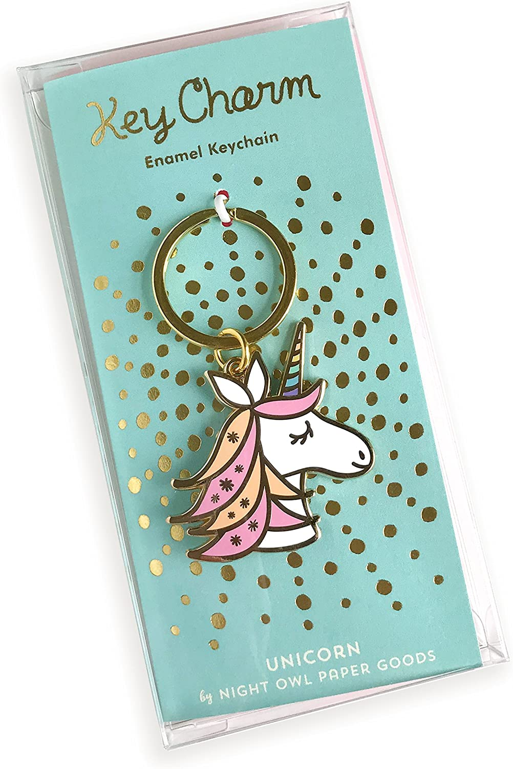 Night Owl Paper Goods Unicorn Enamel Keychain Gold