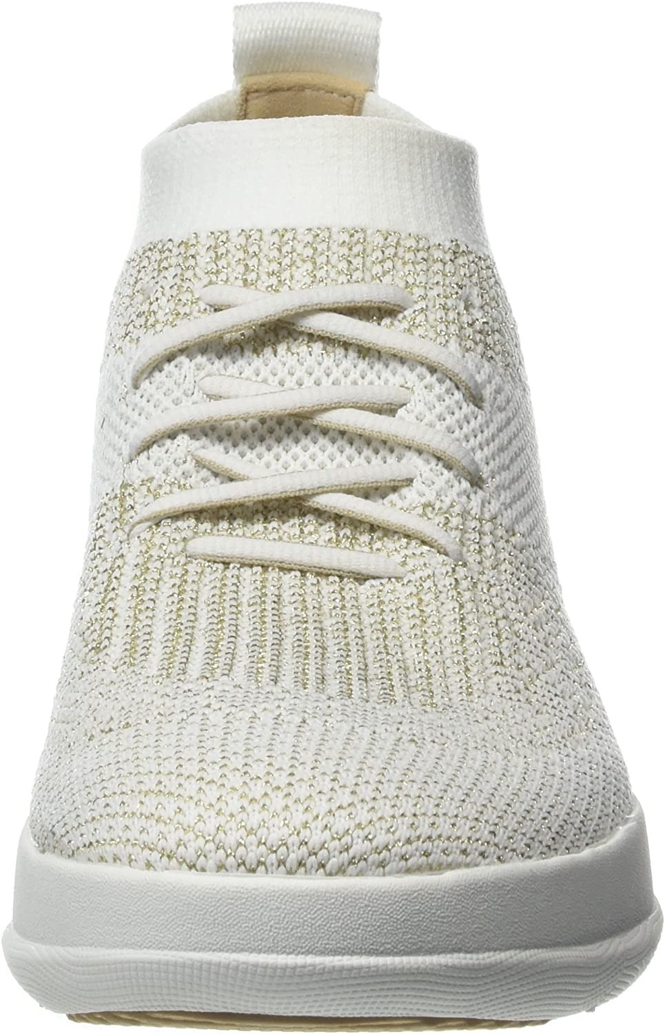 Fitflop Damen Uberknit Slip-on High Top Hohe Sneaker Mehrfarbig Metallic Gold Urban White 566